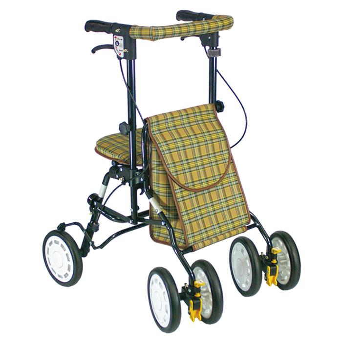 豊通オールライフ アクティブピッチ ブラウン 歩行車 杖立て付 歩行器