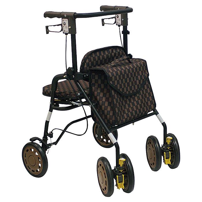 島製作所 シンフォニーEVA Bブラウン 歩行車 杖立て付 歩行器