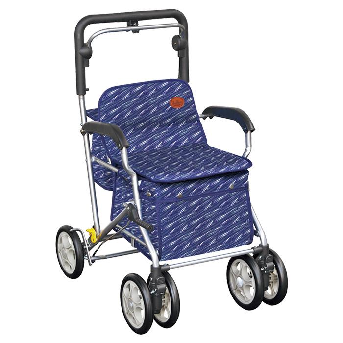 須恵廣工業 ユーメイトFX サーフブルー シルバーカー 杖立て付 カゴのせ可能
