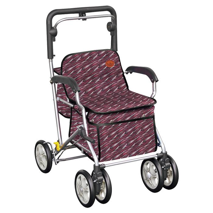 須恵廣工業 ユーメイトFX サーフレッド シルバーカー 杖立て付 カゴのせ可能