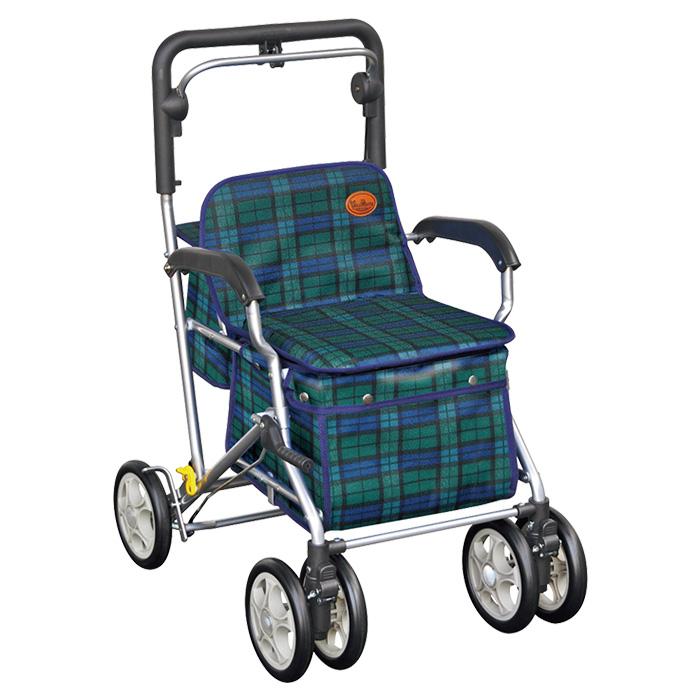 須恵廣工業 ユーメイトFX グリーン シルバーカー 杖立て付 カゴのせ可能