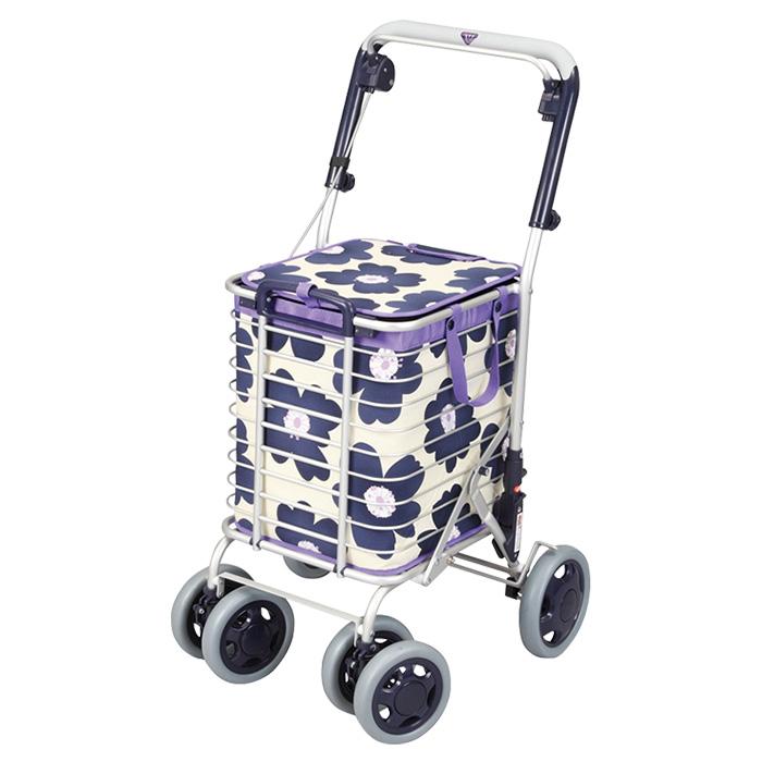ユーバ産業 アルミワイヤーカート (花柄)ブルー ショッピングカート シルバーカー 4輪 カゴのせ可能