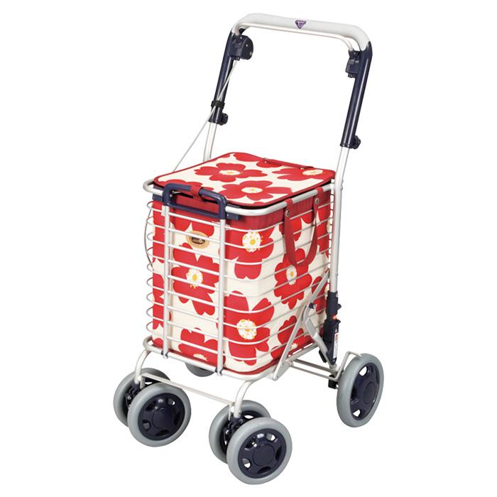 10月上旬頃発送予定 ユーバ産業 アルミワイヤーカート 花柄 レッド 新色 ショッピングカート 老人 おしゃれ カゴのせ可能 ついに再販開始 高齢者 4輪
