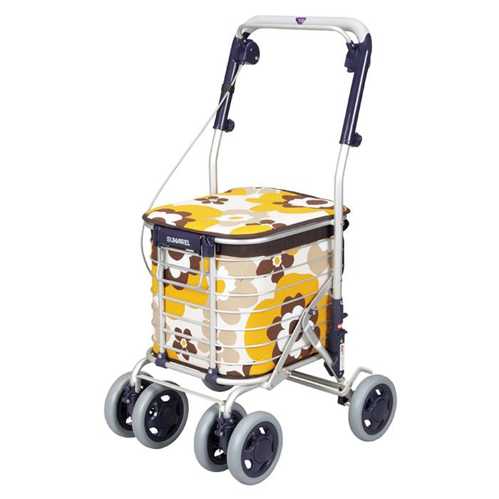 ユーバ産業 ショッピングカート スワレル 花柄イエロー シルバーカー 4輪 カゴのせ可能