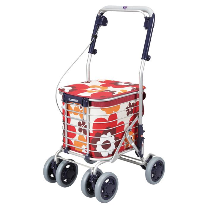 ユーバ産業 ショッピングカート スワレル 花柄レッド シルバーカー 4輪 カゴのせ可能