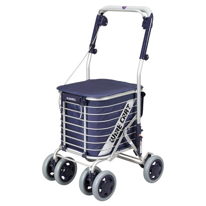 ユーバ産業 ショッピングカート スワレル 無地ネイビー シルバーカー 4輪 カゴのせ可能