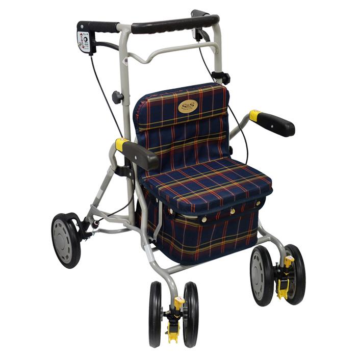 島製作所 シンフォニーラクーン 格子NB 歩行車 杖立て付 新着 介護用 高齢者 老人 お買得 歩行器 カゴのせ可能