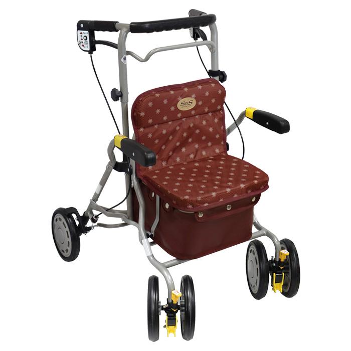 島製作所 シンフォニーラクーン 花柄ドットエンジ 歩行車 杖立て付 カゴのせ可能 歩行器