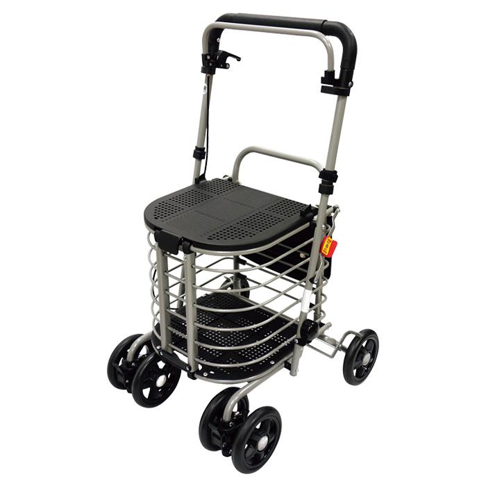 島製作所 ハーモニーAL II ショッピングカート シルバーカー 4輪 杖立て付