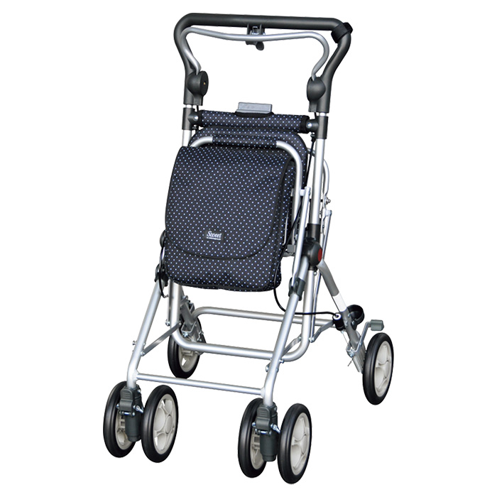 須恵廣工業 スイートレイ ブラック シルバーカー 杖立て付 カゴのせ可能