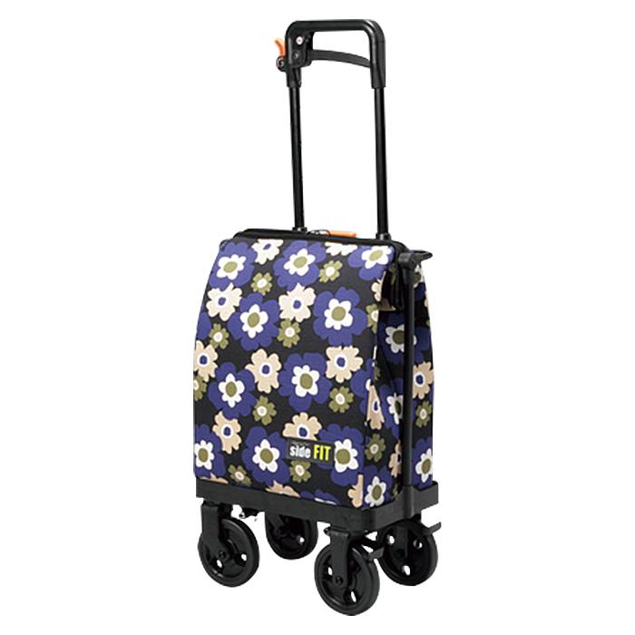 ユーバ産業 サイドフィット 花柄ネイビー ショッピングカート シルバーカー 4輪