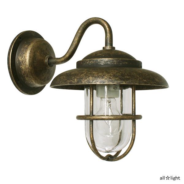 ☆ゴーリキアイランド ポーチライト(ブラケットライト) PETE(ピート) ミニ電球40Wまで E17口金 屋外用 真鍮古色仕上げ ランプ付 BR1760ANCL
