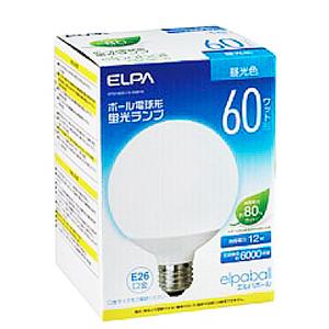 7700円以上で送料無料 ELPA 予約 エルパボール 電球形蛍光ランプ 蛍光灯ランプ G形 爆売り ボール電球形 60W形 3波長形昼光色 EFG15ED12G061H E26口金