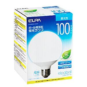 7700円以上で送料無料 ELPA エルパボール 電球形蛍光ランプ 蛍光灯ランプ 正規店 ディスカウント G形 100W形 E26口金 ボール電球形 3波長形昼光色 EFG25ED21G101H