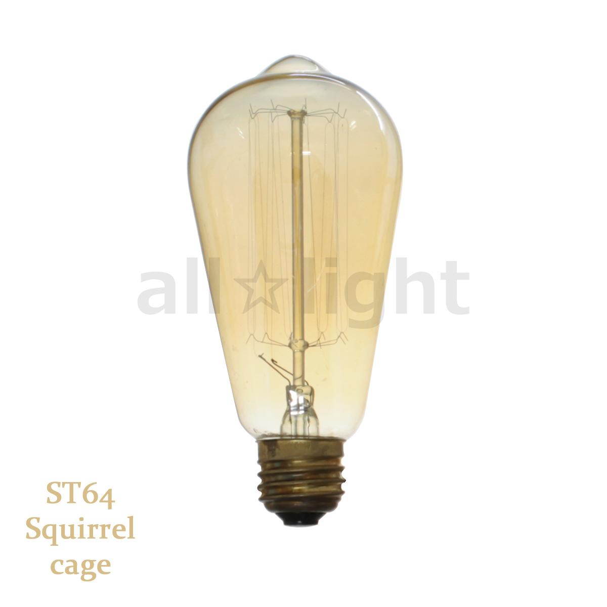 7700円以上で送料無料 レトロなフォルムの電球 アンティーク器具に最適 エジソンバルブ エジソン電球 ナス球形 ST64 お値打ち価格で E26 110V 40W cage E26 110V ST64 40W SC お気にいる Squirrel