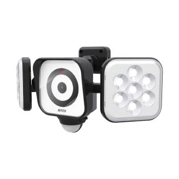 ☆ムサシ RITEX センサーライト×防犯カメラ LED 100V 人感センサー内蔵 防雨形 8W×2灯 フリーアーム式 CAC8160