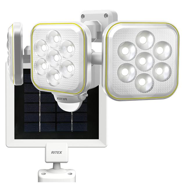 ☆ムサシ RITEX ソーラーセンサーライト LED 人感センサー内蔵 防雨形 5W×3灯 フリーアーム式 S90L