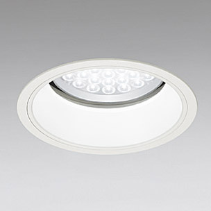 ☆ODELIC LED軒下用ベースダウンライト セラミックメタルハライド100W相当 アイボリーホワイト 69° 埋込穴Φ200mm 白色 4000K  M形 一般型 調光非対応 防雨形 XD258100 ※受注生産品