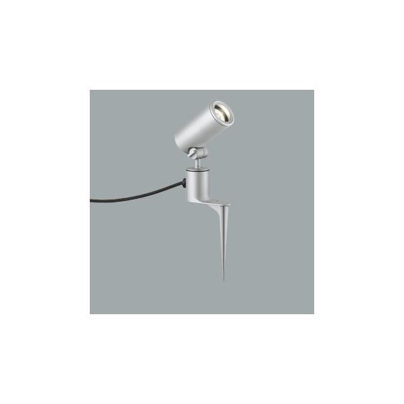 ☆ODELIC LEDエクステリアスポットライト スパイク式 プラグ付キャプタイヤケーブル LED一体型 ダイクロハロゲン(JDR)75W相当 電球色 ワイド配光 本体マットシルバー 防雨型 OG254360