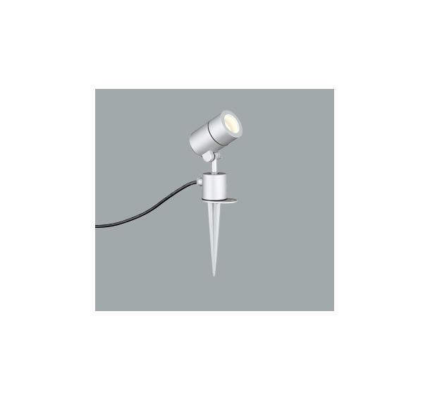 ☆ODELIC LEDエクステリアスポットライト スパイク式 プラグ付キャプタイヤケーブル LED電球ミニクリプトンレフ形 E17口金 電球色 白熱灯50W相当 (ランプ付) 本体マットシルバー 防雨型 OG254574LD