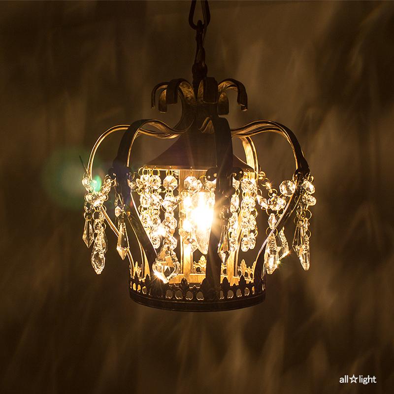 ☆オーブ ペンダントライト 小さなシャンデリア アンティークタイプ シャンデリア電球40W E26口金×1灯(ランプ付) 引掛けシーリング OV0201 アンティーク