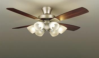 ☆DAIKO LEDシーリングファンライト 簡易取付式 (ランプ・リモコンスイッチ付) 6.0W電球色×6灯 本体シルバー 正転逆転切替 風量3段切替機能付 ASL614