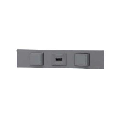 ☆神保電器 NKシリーズ 家具・機器用3路ガイドスイッチ+USBコンセント+3路ガイドスイッチセット(什器用) ソリッドグレー(SG) KAG3525 ※受注生産品