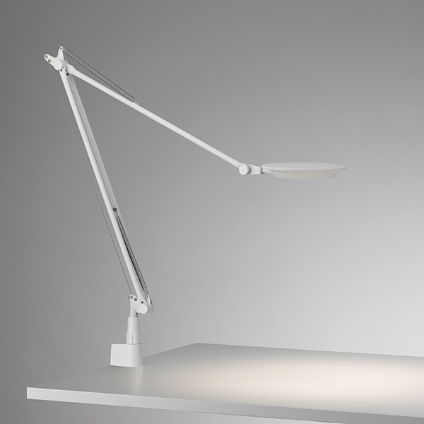 ☆yamagiwa LEDタスクライト(デスクスタンド) Rebio(レビオ) クランプタイプ 3000K 高演色タイプ 本体色ホワイト 3段階調光 LED一体形 555REBIOWH