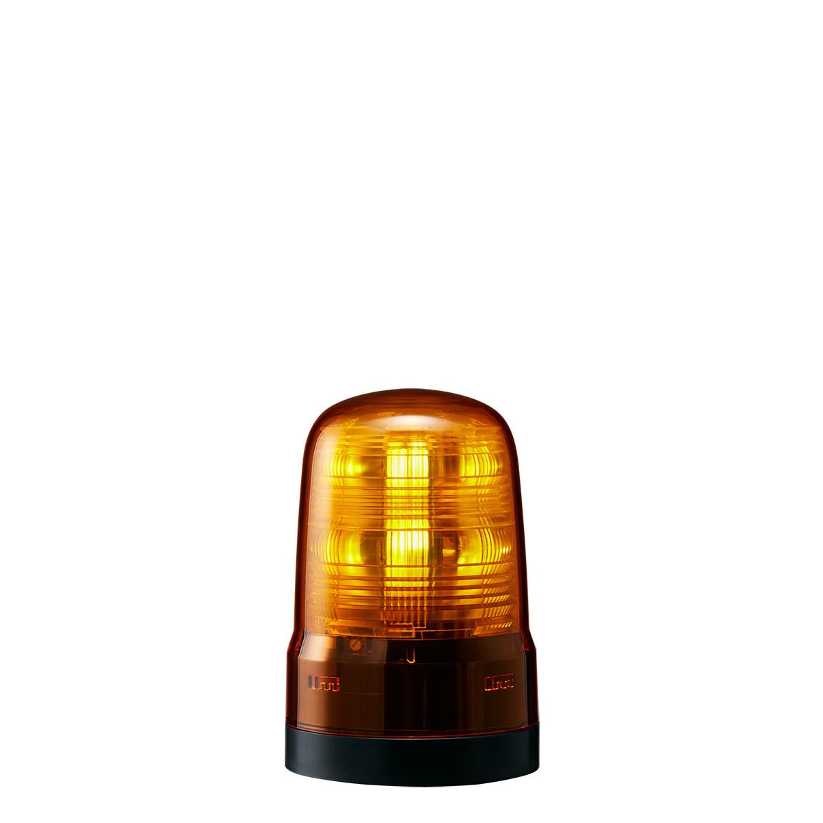 SF08M2KTNY AC100~240V イエロー(黄色) ※受注生産品 プッシュイン端子台・2点穴取付 8.5W φ80mm LED回転灯(モータレス回転灯) SF パトライト