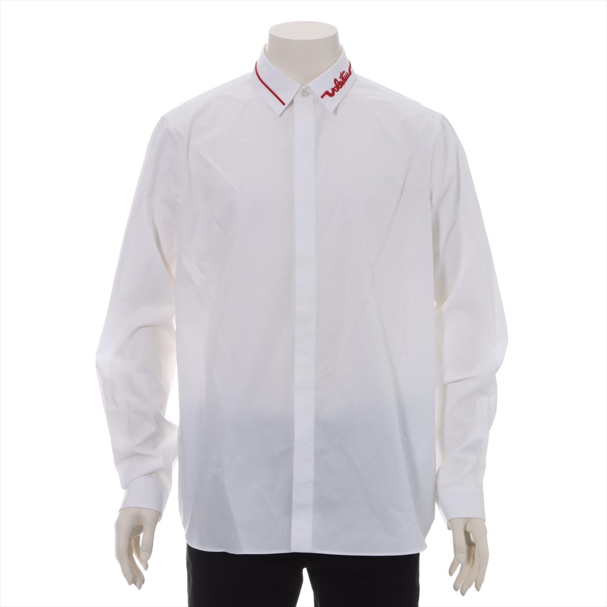 中古 休日 ヴァレンティノ コットン シャツ セール特別価格 ホワイト メンズ ロゴビジュー 42