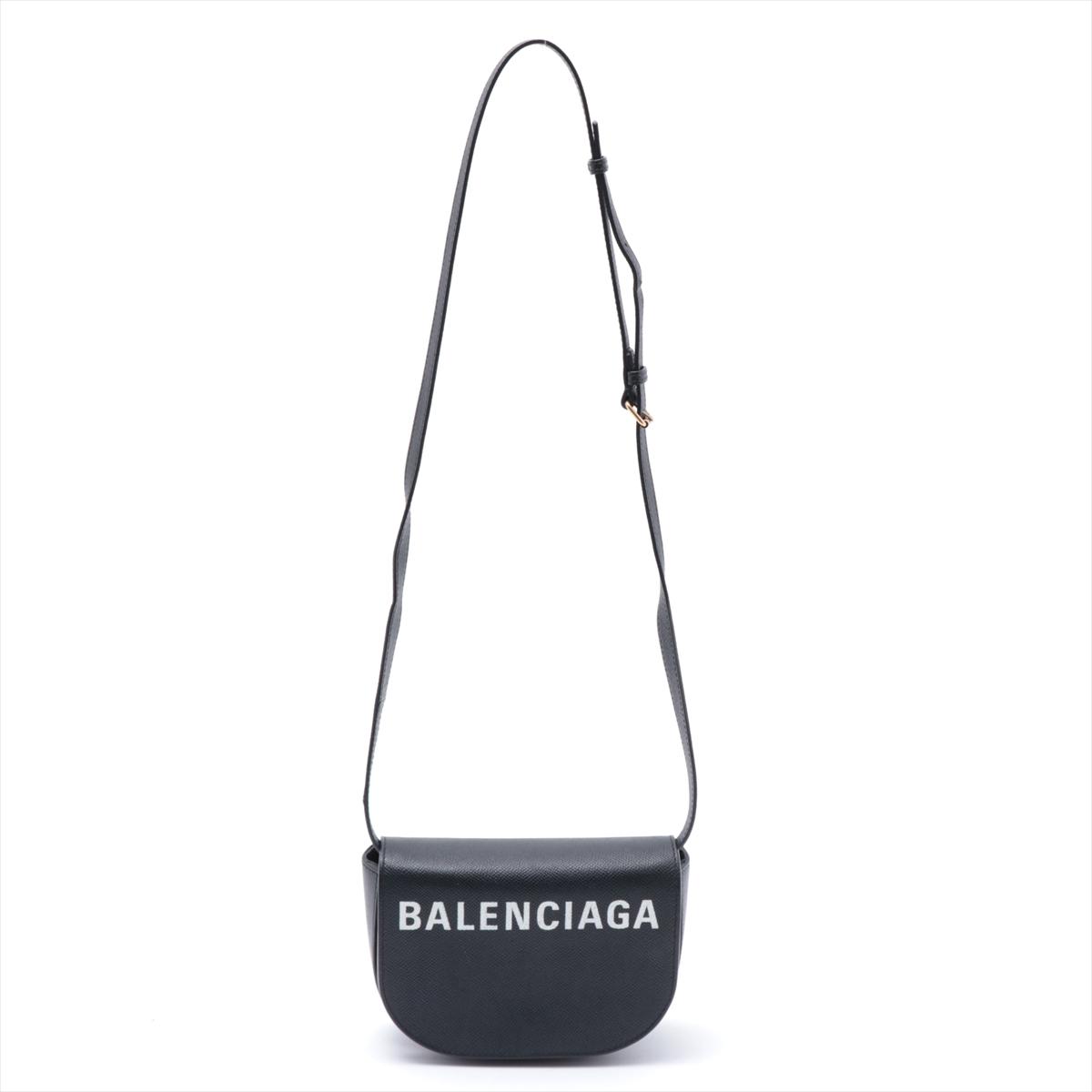 中古 バレンシアガ ヴィルデイバッグ レザー ブラック 日本メーカー新品 割り引き 550639 ショルダーバッグ