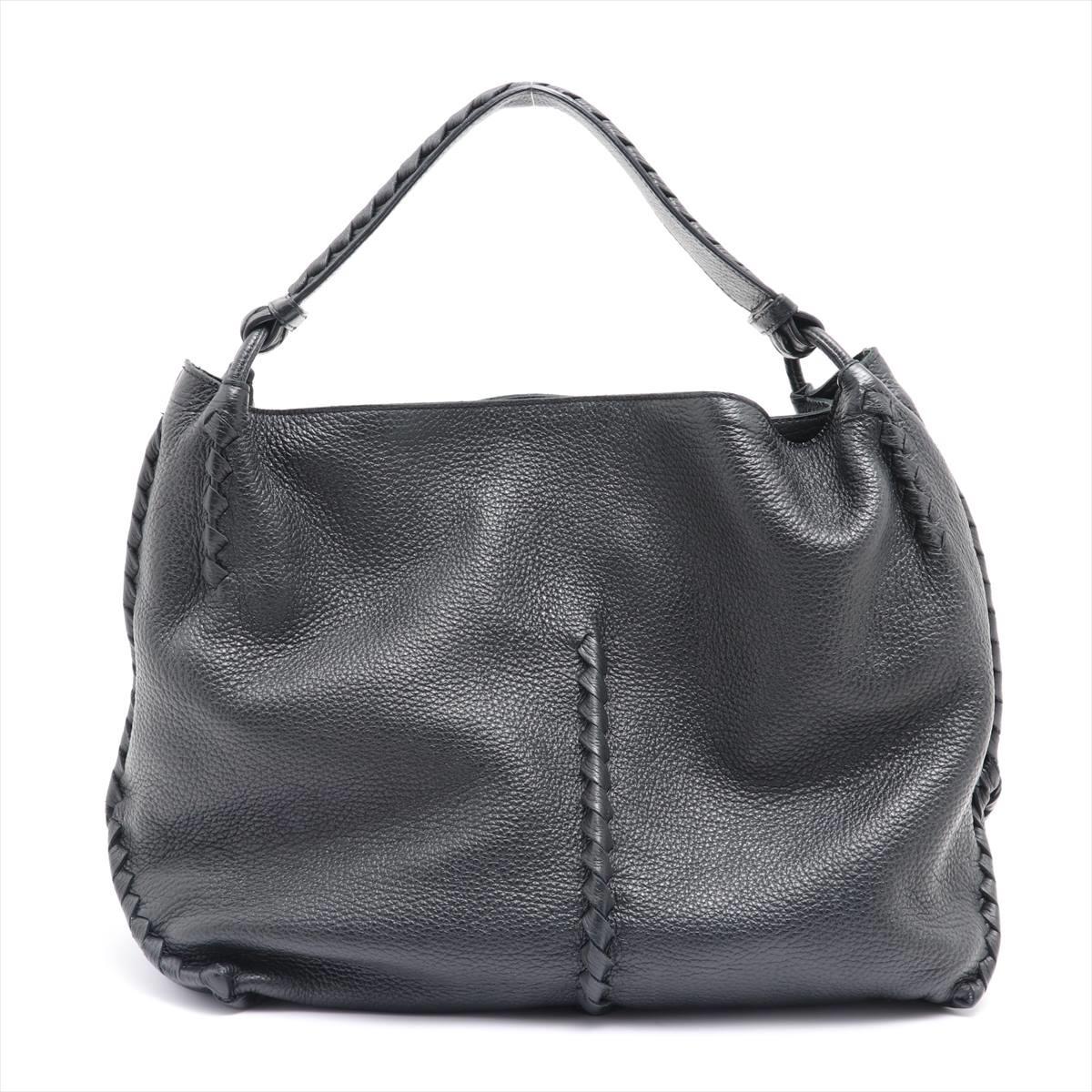 中古 ボッテガヴェネタ チェルボ ブラック お値打ち価格で レザー 世界の人気ブランド ショルダーバッグ