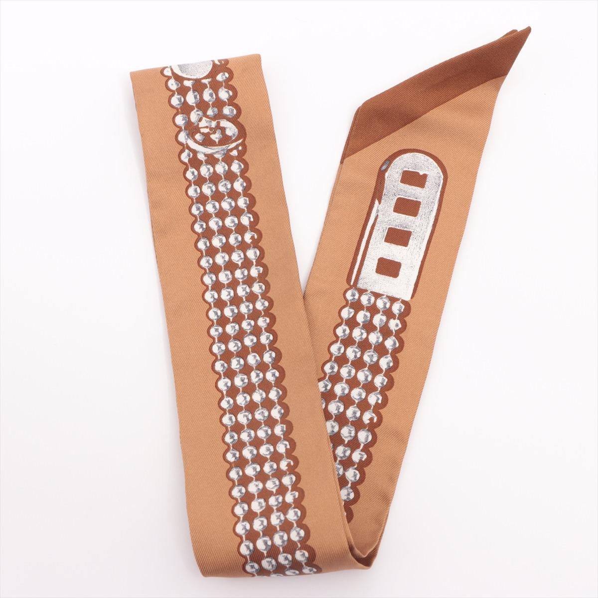 中古 エルメス ツイリー LE オリジナル ストア TRESOR DE MEDOR スカーフ ドゥ ブラウン メドール トレゾール シルク