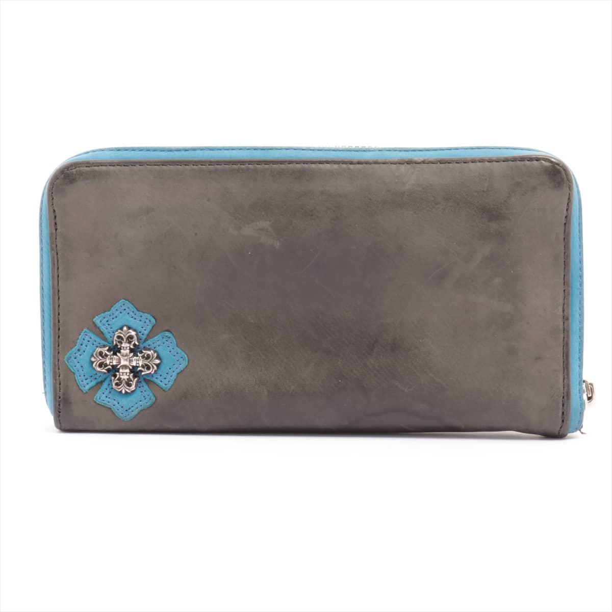 中古 クロムハーツ 買物 REC 日本全国 送料無料 F ZIP 財布 フィリグリープラス レザー 黒×青