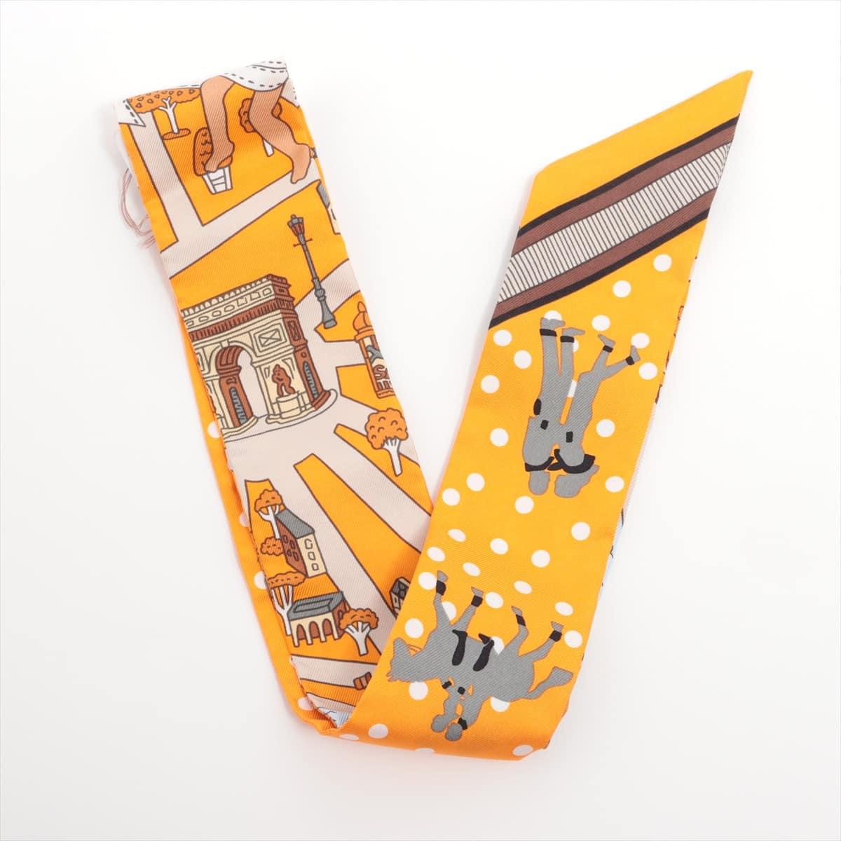 中古 エルメス ツイリー Les Nouveaux Amoureux de ギフト プレゼント ご褒美 シルク パリの恋人たち ストア オレンジ 新 Paris スカーフ