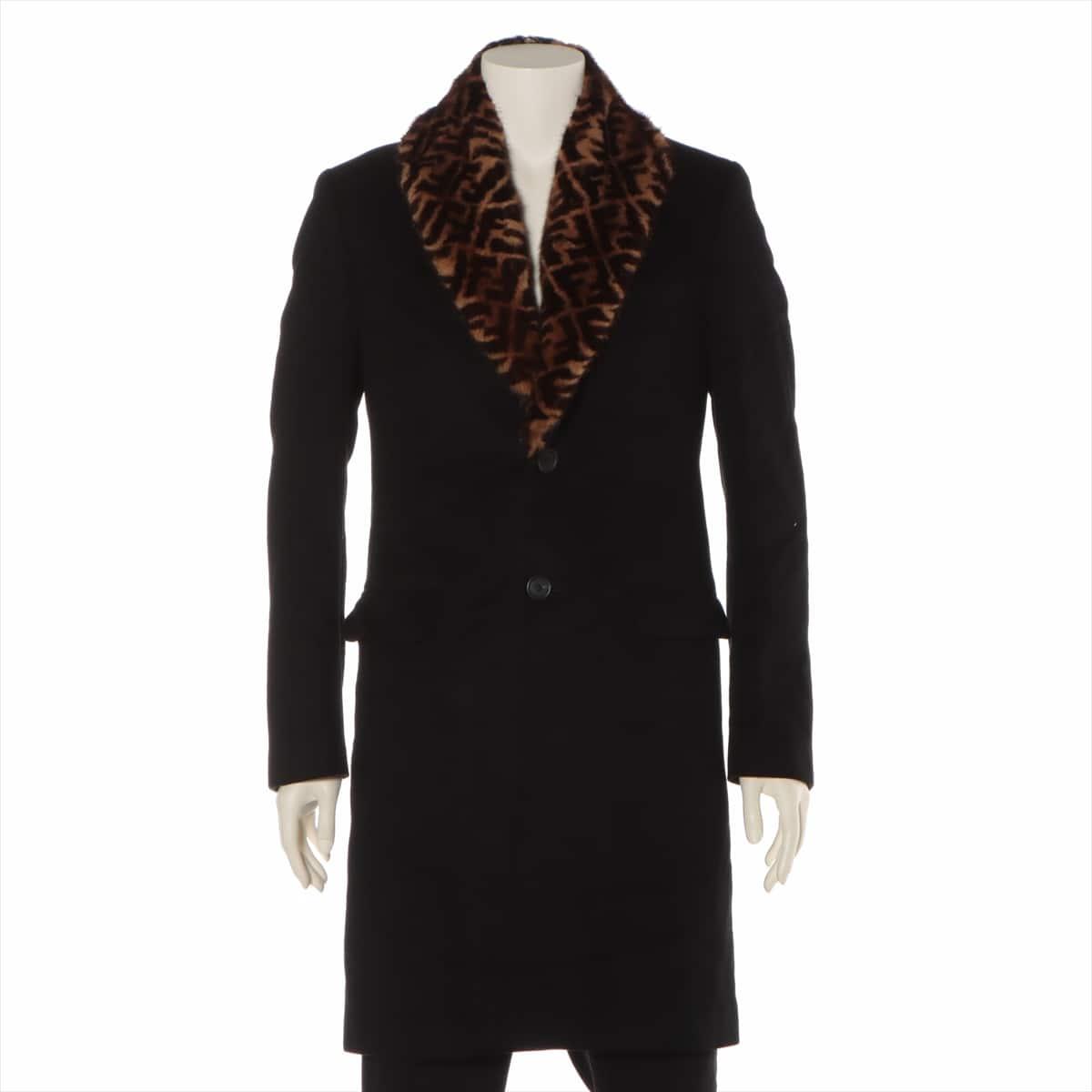 中古 フェンディ ズッカ 19年 カシミヤ 大放出セール コート 低廉 46 ブラック ミンクファー メンズ