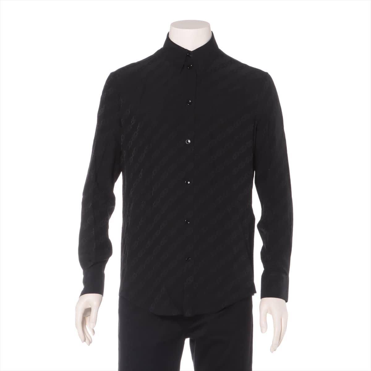中古 セリーヌ エディ期 再再販 シルク シャツ メンズ ブラック 正規逆輸入品 チェーン トリオンフ 39