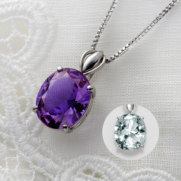 2つの顔を魅せる幸運のペンダント 浴びる光によって 激安セール 愛の守護石と呼ばれるアメジストのように輝き 幸せの石と呼ばれるダイヤモンドのように煌めく ジュエル4ctペンダント 新品未使用正規品 送料無料 すぐに使える10%割引クーポン配布中 カラーチェンジ
