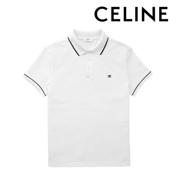 2020春夏モデル[セリーヌ]CELINE ポロシャツ(オフホワイト) CE-002 【トリオンフ シグネチャー付き クラシックポロ 半袖 メンズ クールビズ プレゼント父の日バレンタインクリスマス】【あす楽対応_関東】