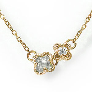 誕生石 ブレスレット ダイヤモンド 10金 花 フラワー プチペンダント 双子 カラーストーン【送料無料】