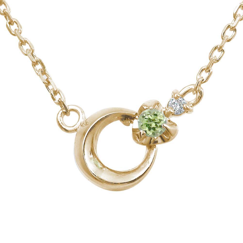 5月16日1時まで 誕生石 ブレスレット ペリドット ダイヤモンド カラーストーン 10金 月 流星 モチーフ【送料無料】 買いまわり 買い回り