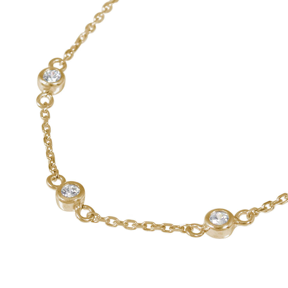 ダブレスレット ダイヤモンド トリロジー 10金 k10 10k フクリン スリーストーン ブレスレット 誕生石 覆輪 3石 シンプル【送料無料】