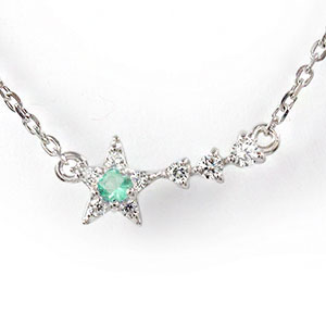 流れ星 シューティングスター 流星 エメラルド ブレスレット 18金 ダイヤモンド 誕生石 ブレス ジュエリーショップ【送料無料】