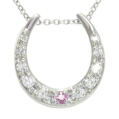 【送料無料】馬蹄 ピンクトルマリン ネックレス 10金 ダイヤモンド ハート ホースシュー ペンダント ゴールド GOLD プレゼント ギフト 母の日 10月 誕生石