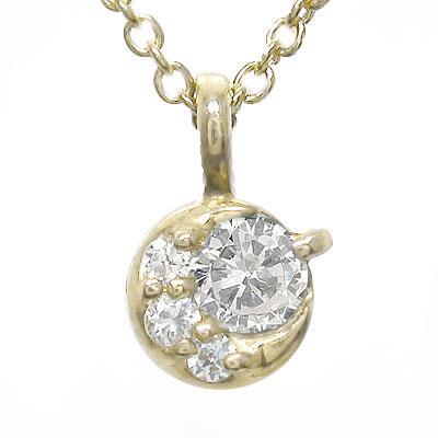 ダイヤモンド ネックレス k18イエローゴールド 一粒 月 チャーム レディース ユニセックス 誕生日 2019 記念日 母の日 プレゼント 4月 誕生石