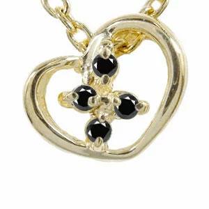 ブラックダイヤモンド ハート クロス ネックレス ペンダント k10ホワイトゴールドチャーム プレゼント ギフト 母の日 4月 誕生石