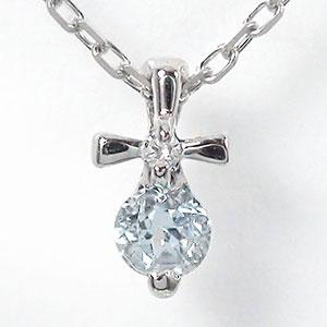 5月16日1時まで 【送料無料】クロス アクアマリン ネックレス 10金 十字架 優しい ペンダント ゴールド GOLD プレゼント ギフト 母の日 3月 誕生石 買いまわり 買い回り