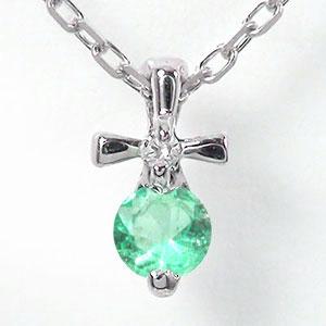 【送料無料】エメラルド クロス 十字架 ネックレス プラチナ900 優しい ペンダント pt900 プレゼント ギフト 母の日 5月 誕生石