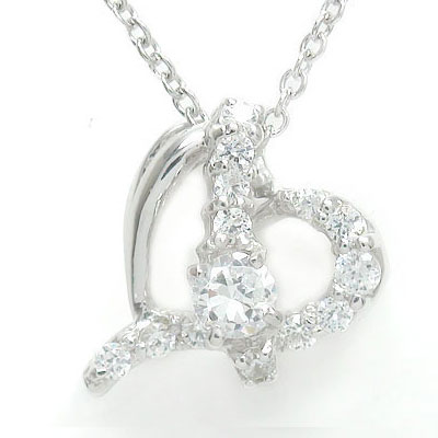 【送料無料】ダイヤモンド ハートネックレス プラチナ900 流れ星 ダイヤモンド ペンダント pt900 プレゼント ギフト 母の日 4月 誕生石
