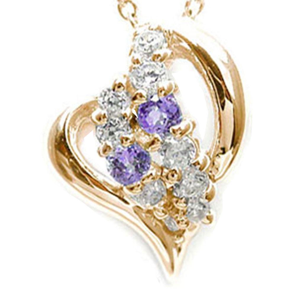 【送料無料】アメジスト ネックレス k10ピンクゴールド ハート ペンダント ダイヤモンド 星 スター プレゼント ギフト 母の日 2月 誕生石